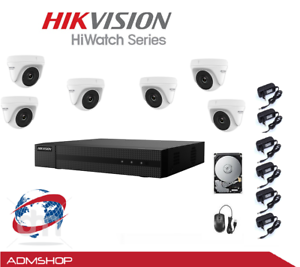 KIT TELECAMERE VIDEOSORVEGLIANZA AHD HIKVISION 1080P 8 CANALI+ 6CAM + HARD DISK