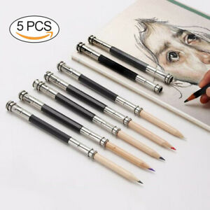 Metal Two Size Double Ended Dual Pencil Extender for Drawing /& Sketching 5pcs