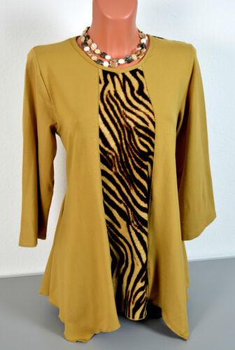 40-52 noble tunique shirt preux-print moutarde en velours-Optik A-forme 95/% viscose
