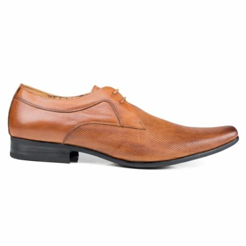 Front Ripley Tan Smart Lace-Up Pointed Toe Pinhole Effect Mens Leather Shoes
