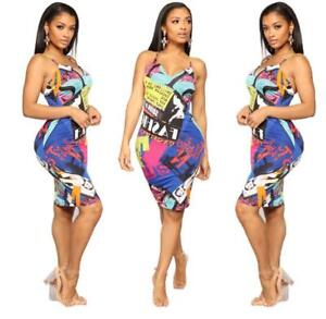 Woman Sleeveless dress  Colorfull Letter Printed Vest Bodycon dress S-2XL