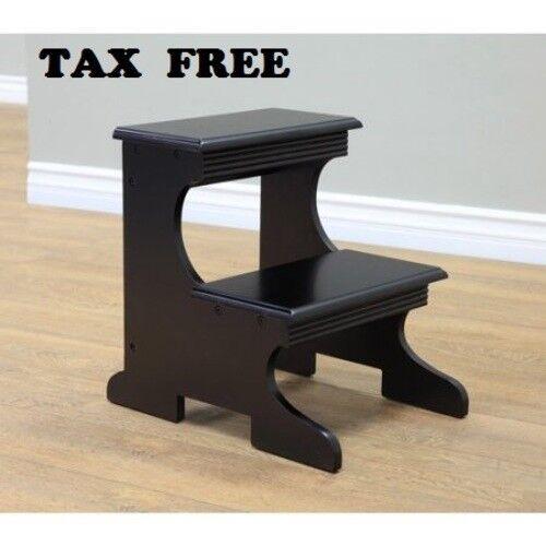 Wood Step Stool Kitchen Kids Bed Stepping Chair 2 Steps Molded Vintage Furniture Ebay