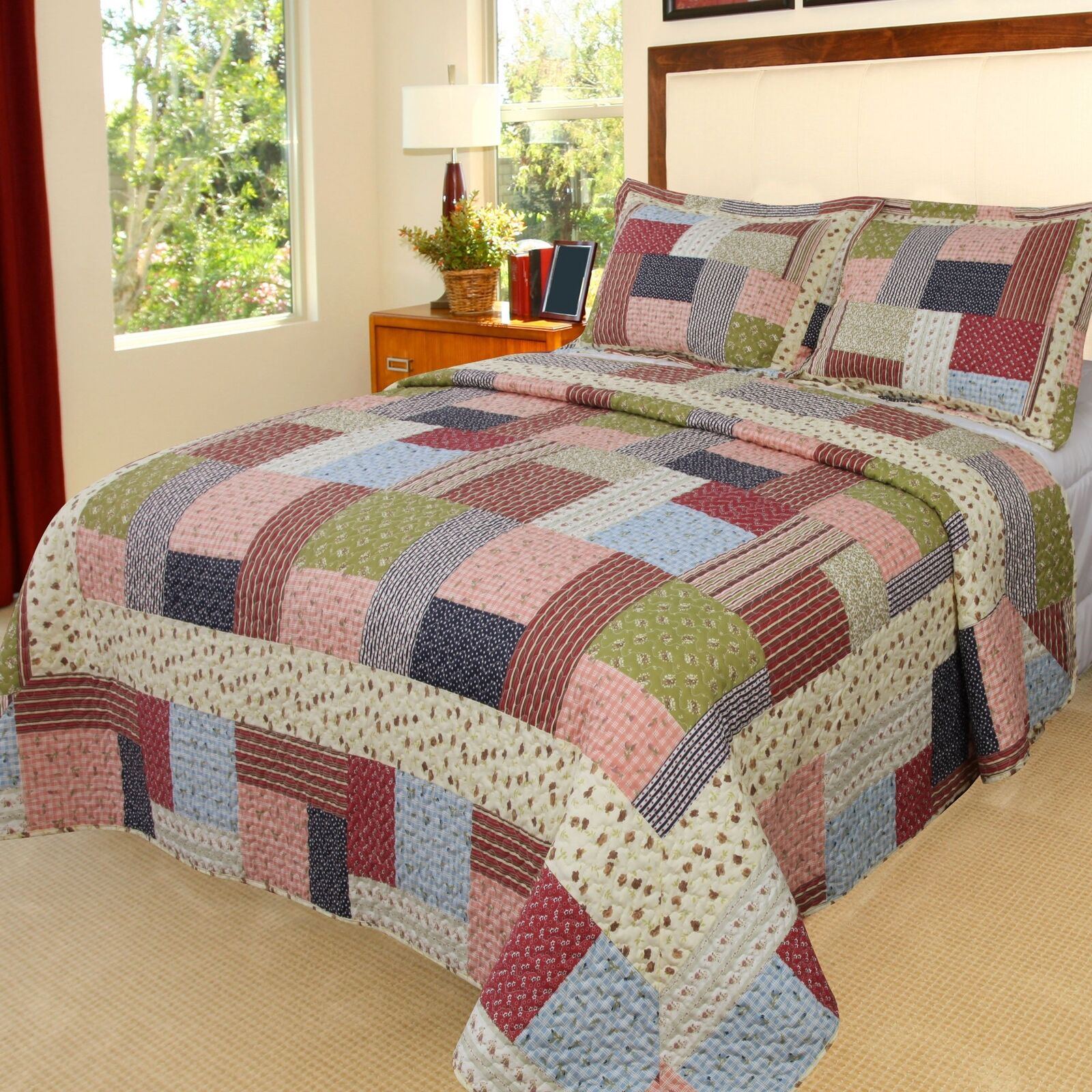 Bedford Home Savannah Printed 3-Piece Quilt Set, King