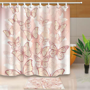 Pink Butterfly Waterproof Hotel Home Decor Polyester Shower Curtains Bath Rugs