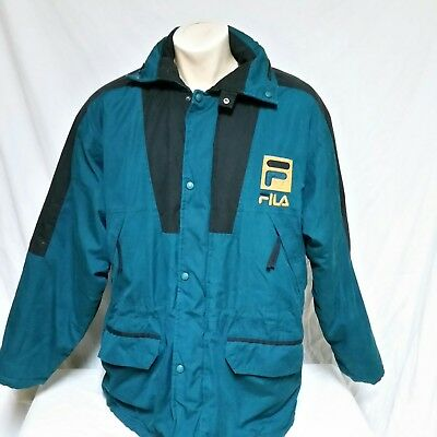 VTG Fila Winter Coat Ski Jacket 90s Spell Out Colorblock Parka Bjorn Borg XL | eBay