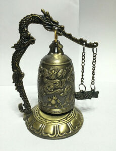 Excellent CHINA Tibet Brass Dragon buddha Bell feng shui red rope tassels