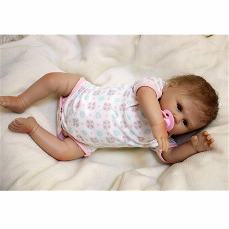 20  SILICONE realistica vinile RINATO BABY GIRL Bambola realistica morbida neonato regali @