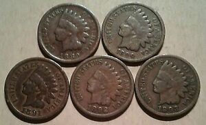 1889-1893-INDIAN-HEAD-CENTS-Starter-Collection-5-Coin-Lot-1-10-Roll