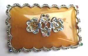 Strict Broche Ancienne Couleur Argent Bakélite Ocre Fleur Cristaux Bijou Vintage 653
