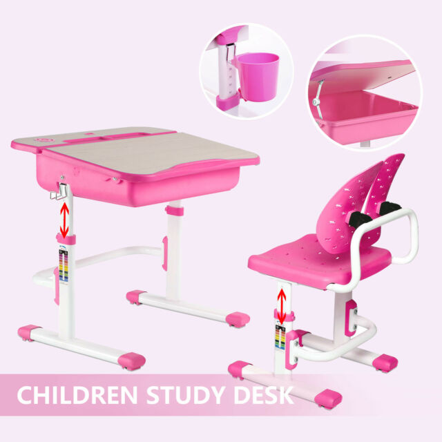 Terrific Adjustable Childrens Study Table Desk Chair Set Child Kid Openable Desktop Pink Caraccident5 Cool Chair Designs And Ideas Caraccident5Info