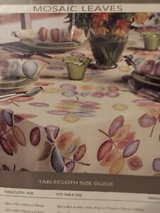 Croscill Mosaic Leaves Tablecloth 70 Round Tablecloths Home Kitchen