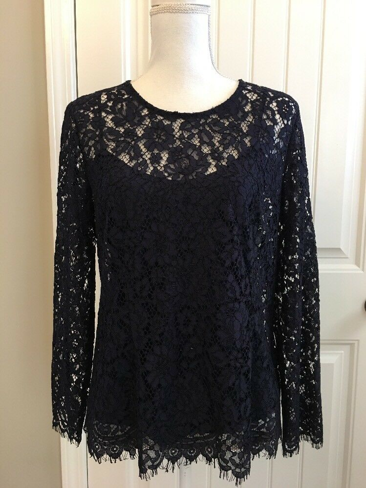 New J Crew Lace Top with Built-in Cami Navy Blau Sz 10 H2200