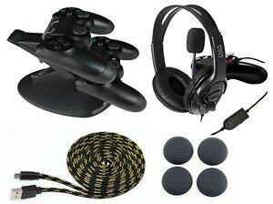 PS4-Gaming-Headset-Controller-Ladestation-Thumb-Grips-Ladekabel-3-Meter