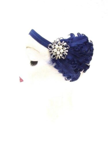 Navy Blue Silver Feather Headband 1920s Flapper Fascinator Headpiece Vtg 2774