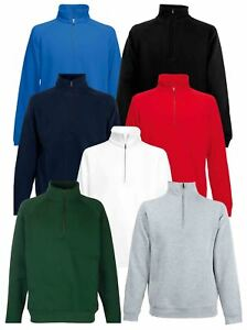 Fruit-Of-The-Loom-Mens-Classic-Zip-Neck-Sweat-Cadet-collar-Sweatshirts