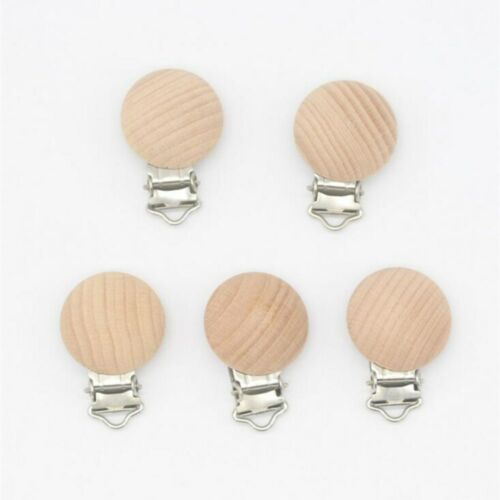 2pcs Natural Beech Wood Baby Pacifier Clips Baby Teether Teething Jewelry 30MM