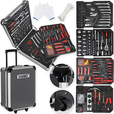 Masko® 725tlg Werkzeugkoffer Werkzeugkasten Werkzeugkiste Werkzeug Trolley Black