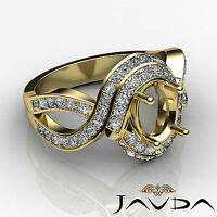 Diamond Engagement Antique Ring Oval Semi Mount 18k Yellow Gold Curve Shank 1Ct