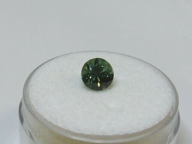 Natural earth-mined green round cut sapphire gemstone...1.12 carat gem
