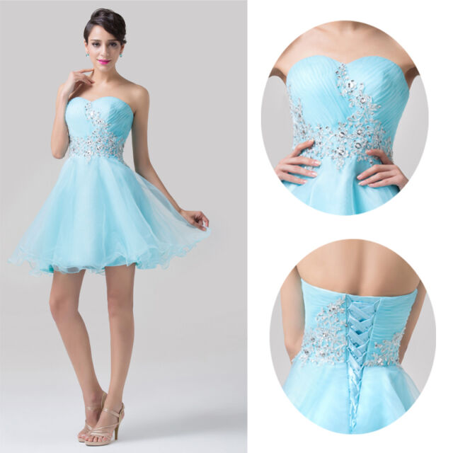 Plus BEADED Short Prom Evening Party Homecoming Graduation Gown Bridesmaid Dress