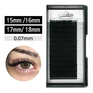 Details about LashView  07 Individual Eyelash Extensions Silk 15/16/17/18mm  Longer Eyelashes