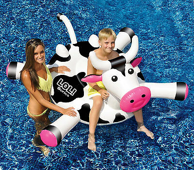 Swimline LOL 90268 Swim Pool Kids Giant Rideable Cow Inflatable Float Australia