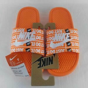 f499ad73c1a1 Nike Benassi JDI Just Do It Print Slides Total Orange White Black ...