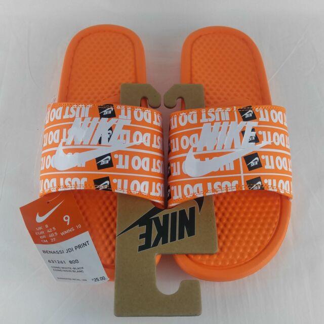 pretty nice 5b0c7 86a51 Nike Benassi JDI Just Do It Print Slides Total Orange White Black 631261-800  NEW