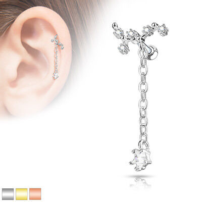 1pc CZ Gem Paved Triangle Tragus Helix Cartilage Barbell Ring 16g 1//4/""
