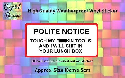 Touch My Tools Snap On Draper Hilti Stanley Tool Box Sticker dewalt Funny A11