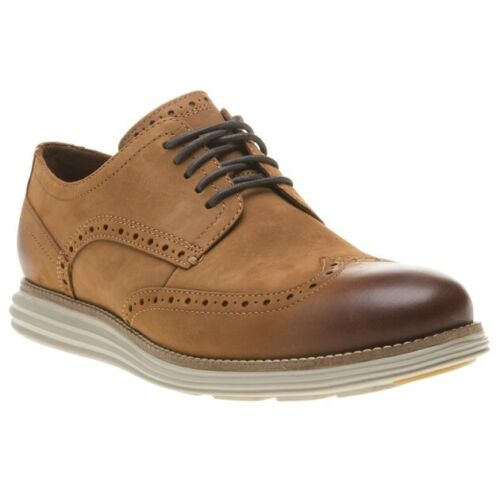 New Mens Cole Haan Tan Originalgrand Wingtip Oxford Nubuck Shoes Brogue Lace Up