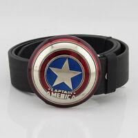 New Costume Captain America Shield Superhero Men's Metal Belt Buckle Leather