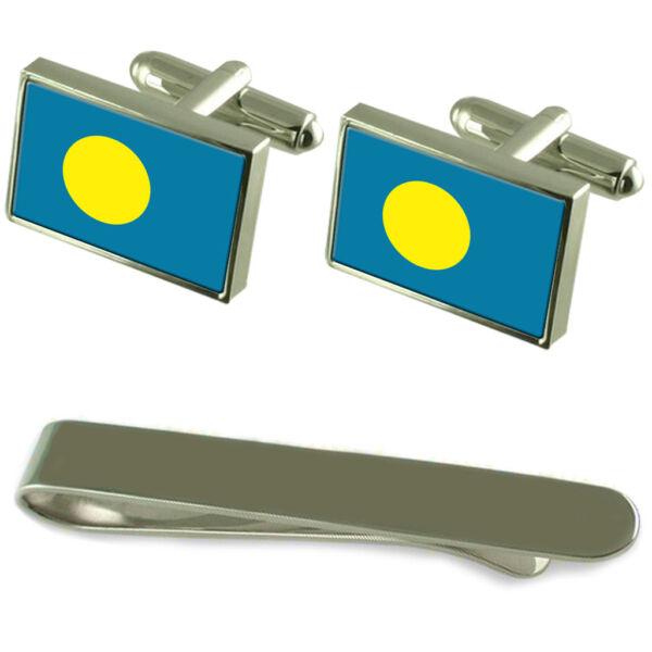 Palau Flagge Silber Manschettenknöpfe Clip-krawatte Kiste Geschenkset