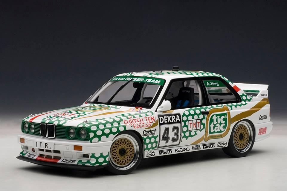 1991 BMW M3 E30 DTM Berg  43 voiture de course TIC TAC 89147 by Autoart 1 18 Prix De Vente