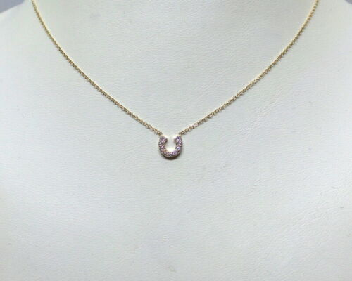 diamond horseshoe necklace 14k solid gold natural diamonds si1 clarity g color