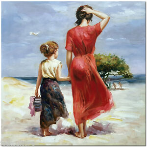 Afternoon-Stroll-50x50cm-Hand-Painted-Pino-Daeni-Oil-Painting-On-Canvas