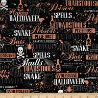 Potions & Spells Metallic Halloween Lingo Black 100% Cotton Fabric By The Yard