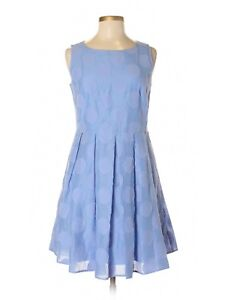 Women Sail to Sable STS Blue Hydrangea Fit & Flare Polka Dot Dress Size 6