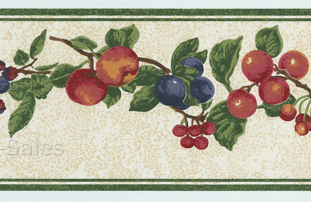 Country Cherries Plum Berry Fruit Speckled Tan Green Roll Border Wallpaper Wall