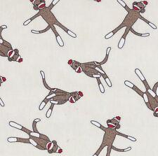 Funky Monkey Moda Quilt Fabric 1/2 yard  Sock Monkey on White 15071-11