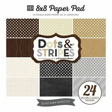"ECHO PARK ""DOTS & STRIPES"" 8X8 PAPER PAD - NEUTRALS  24 SHEES SCRAPJACK'S PLACE"