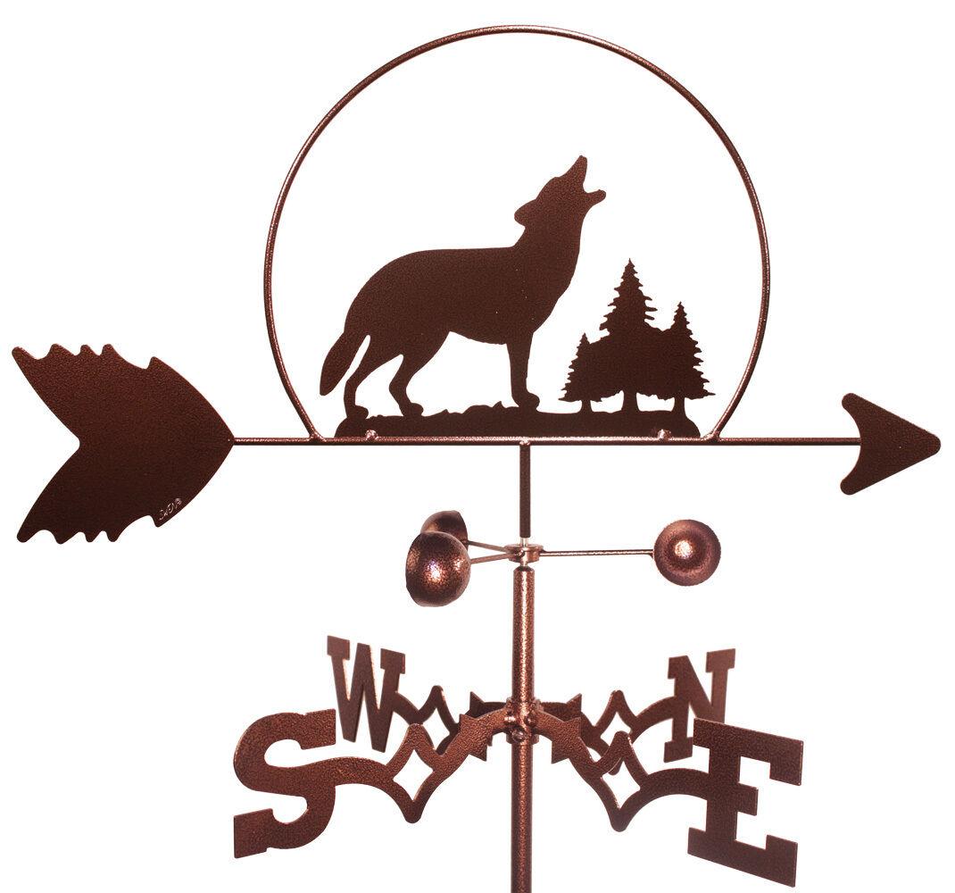 Wolf Wildlife Weathervane With Garden Mounting