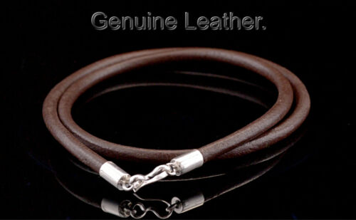 5N-593 Finely Made Sterling Silver New 4 MM Genuine Leather Cord Men Necklace.