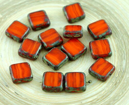 Picasso de taille de Table Rustique Plat Carré de Verre tchèque Perles de 10 mm