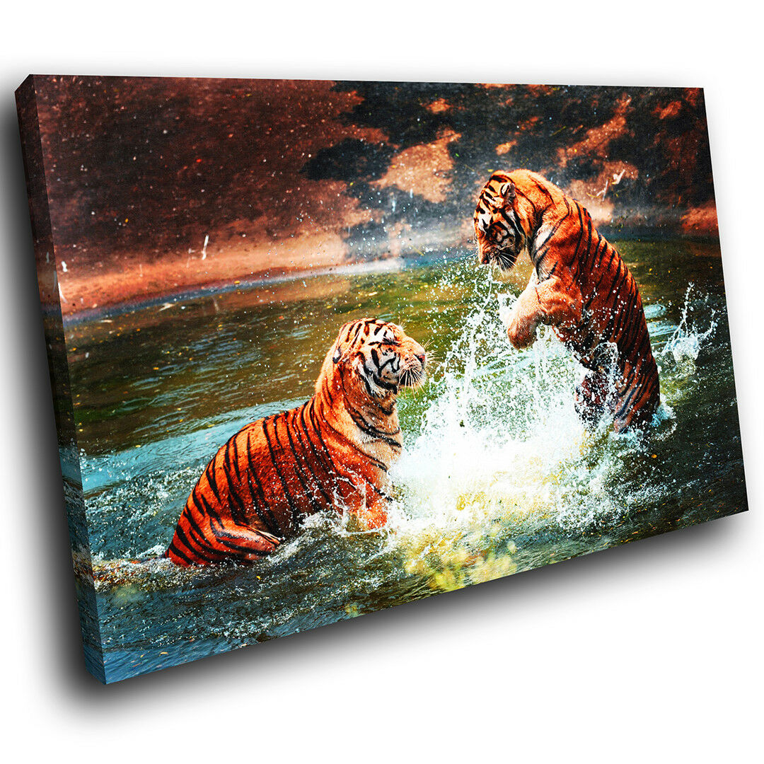 A102 Orange Tiger Water Gelb Funky Animal Canvas Wall Art Large Picture Prints