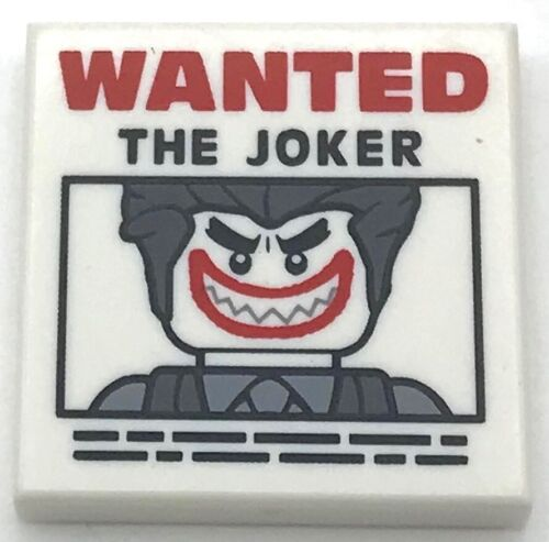 Lego New White Tile 2 x 2 with Groove with WANTED THE JOKER Poster Pattern