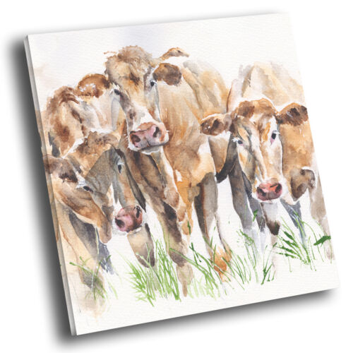 Square Animal Photo Canvas Wall Art Picture Prints Brown Cow Watercolour Green