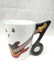 Coffee Mug Tea Cup MUSICAL NOTE - GUITAR HANDLE Ceramic 8 Oz