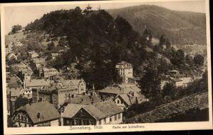 Postkarte-Ansichtskarte-sw-ungelaufen-Sonneberg-Partie-am-Schlossberg-Thueringen