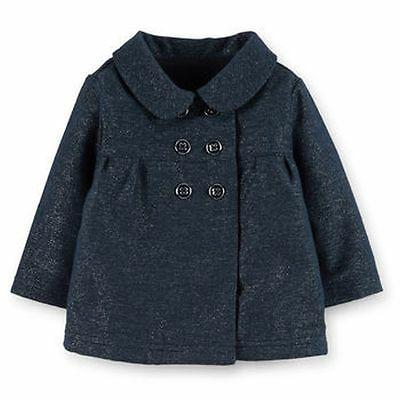 New Carter's Sparkle Navy Blue Double Breasted Dress Coat Jacket 3T NWT